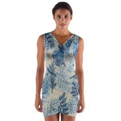 Flowers Blue Patterns Fabric Wrap Front Bodycon Dress