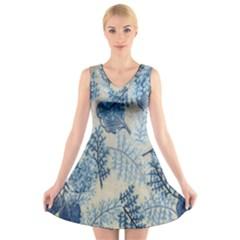 Flowers Blue Patterns Fabric V Neck Sleeveless Skater Dress