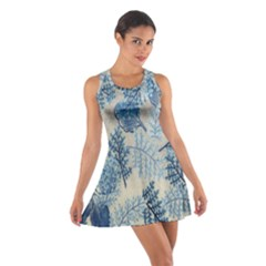 Flowers Blue Patterns Fabric Cotton Racerback Dress