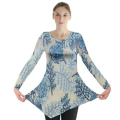 Flowers Blue Patterns Fabric Long Sleeve Tunic