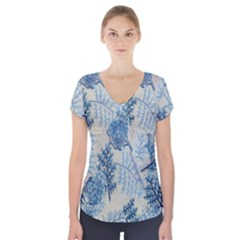 Flowers Blue Patterns Fabric Short Sleeve Front Detail Top