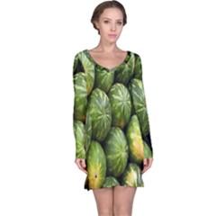 Food Summer Pattern Green Watermelon Long Sleeve Nightdress