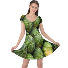 Food Summer Pattern Green Watermelon Cap Sleeve Dresses
