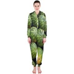 Food Summer Pattern Green Watermelon Hooded Jumpsuit (Ladies)