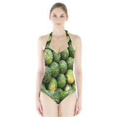 Food Summer Pattern Green Watermelon Halter Swimsuit
