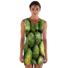 Food Summer Pattern Green Watermelon Wrap Front Bodycon Dress