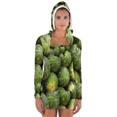 Food Summer Pattern Green Watermelon Women s Long Sleeve Hooded T Shirt