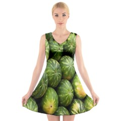 Food Summer Pattern Green Watermelon V Neck Sleeveless Skater Dress