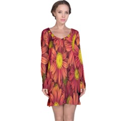 Flowers Nature Plants Autumn Affix Long Sleeve Nightdress