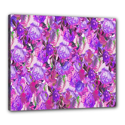 Flowers Abstract Digital Art Canvas 24  x 20