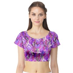 Flowers Abstract Digital Art Short Sleeve Crop Top (tight Fit)