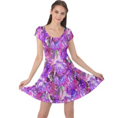 Flowers Abstract Digital Art Cap Sleeve Dresses