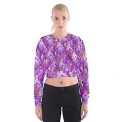 Flowers Abstract Digital Art Women s Cropped Sweatshirt