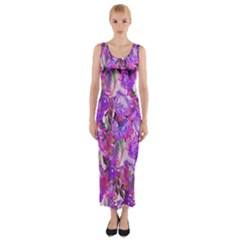 Flowers Abstract Digital Art Fitted Maxi Dress
