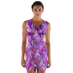 Flowers Abstract Digital Art Wrap Front Bodycon Dress