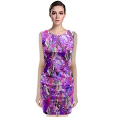 Flowers Abstract Digital Art Classic Sleeveless Midi Dress