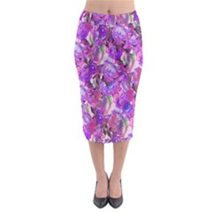 Flowers Abstract Digital Art Midi Pencil Skirt