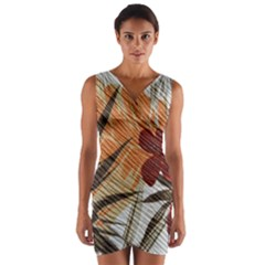 Fall Colors Wrap Front Bodycon Dress