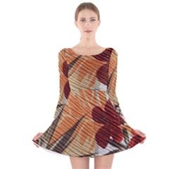 Fall Colors Long Sleeve Velvet Skater Dress