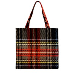 Fabric Texture Tartan Color Zipper Grocery Tote Bag