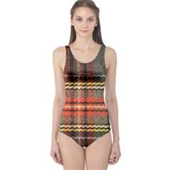 Fabric Texture Tartan Color One Piece Swimsuit
