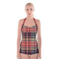 Fabric Texture Tartan Color Boyleg Halter Swimsuit