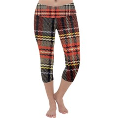 Fabric Texture Tartan Color Capri Yoga Leggings