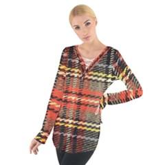 Fabric Texture Tartan Color Women s Tie Up Tee