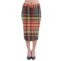 Fabric Texture Tartan Color Midi Pencil Skirt