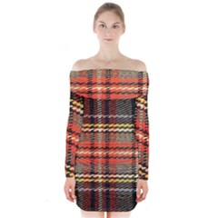 Fabric Texture Tartan Color Long Sleeve Off Shoulder Dress