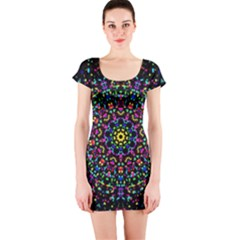 Fractal Texture Short Sleeve Bodycon Dress
