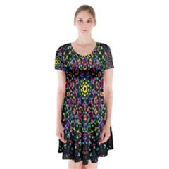 Fractal Texture Short Sleeve V-neck Flare Dress