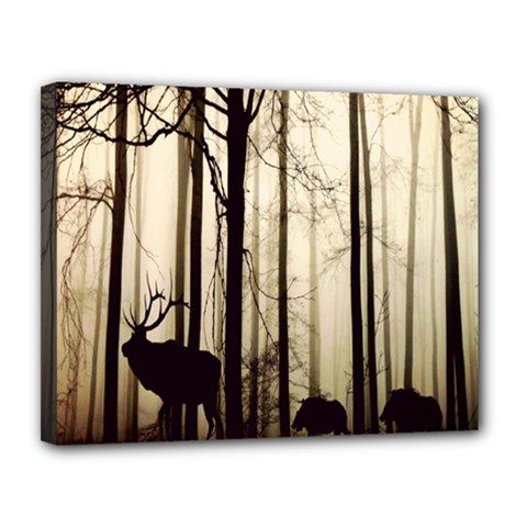 Forest Fog Hirsch Wild Boars Canvas 14  x 11