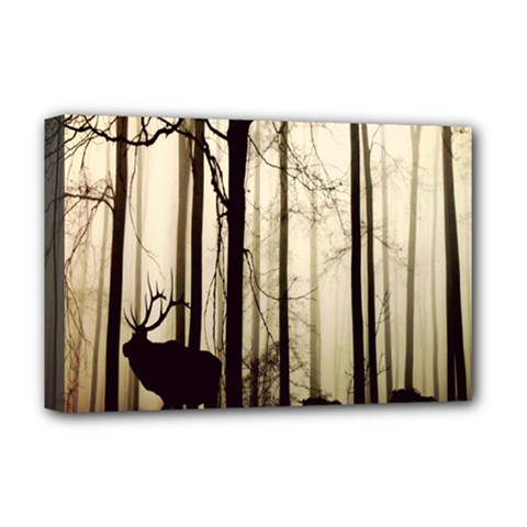 Forest Fog Hirsch Wild Boars Deluxe Canvas 18  x 12