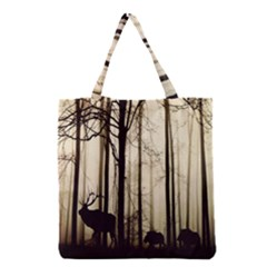 Forest Fog Hirsch Wild Boars Grocery Tote Bag