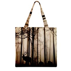 Forest Fog Hirsch Wild Boars Zipper Grocery Tote Bag