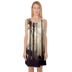 Forest Fog Hirsch Wild Boars Sleeveless Satin Nightdress
