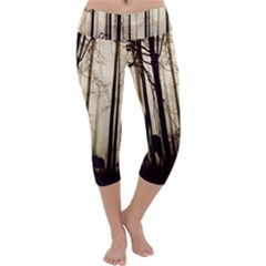 Forest Fog Hirsch Wild Boars Capri Yoga Leggings