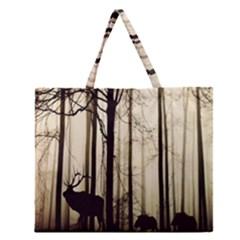 Forest Fog Hirsch Wild Boars Zipper Large Tote Bag