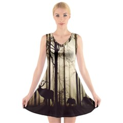 Forest Fog Hirsch Wild Boars V Neck Sleeveless Skater Dress