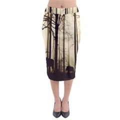 Forest Fog Hirsch Wild Boars Midi Pencil Skirt