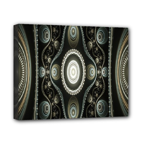 Fractal Beige Blue Abstract Canvas 10  x 8