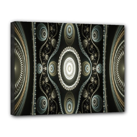 Fractal Beige Blue Abstract Canvas 14  x 11