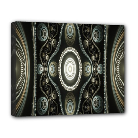 Fractal Beige Blue Abstract Deluxe Canvas 20  X 16