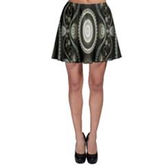 Fractal Beige Blue Abstract Skater Skirt