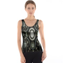 Fractal Beige Blue Abstract Tank Top