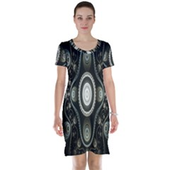 Fractal Beige Blue Abstract Short Sleeve Nightdress