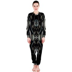 Fractal Beige Blue Abstract OnePiece Jumpsuit (Ladies)