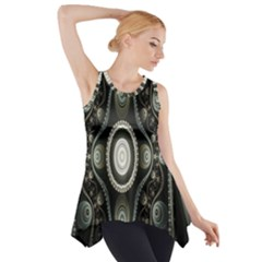 Fractal Beige Blue Abstract Side Drop Tank Tunic