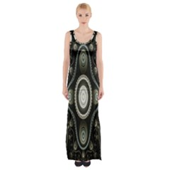 Fractal Beige Blue Abstract Maxi Thigh Split Dress